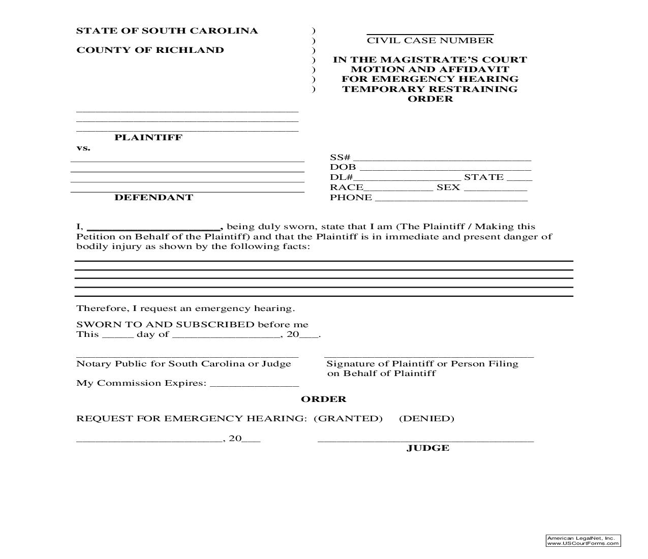 Motion And Affidavit For Emergency Hearing Temporary Restraining Order | Pdf Fpdf Doc Docx | South Carolina