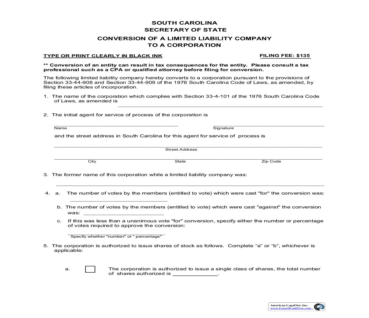 Articles Of Conversion - LLC To Corporation | Pdf Fpdf Doc Docx | South Carolina