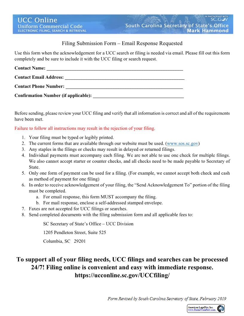 Filing Submission Form-Email Response Requested | Pdf Fpdf Doc Docx | South Carolina