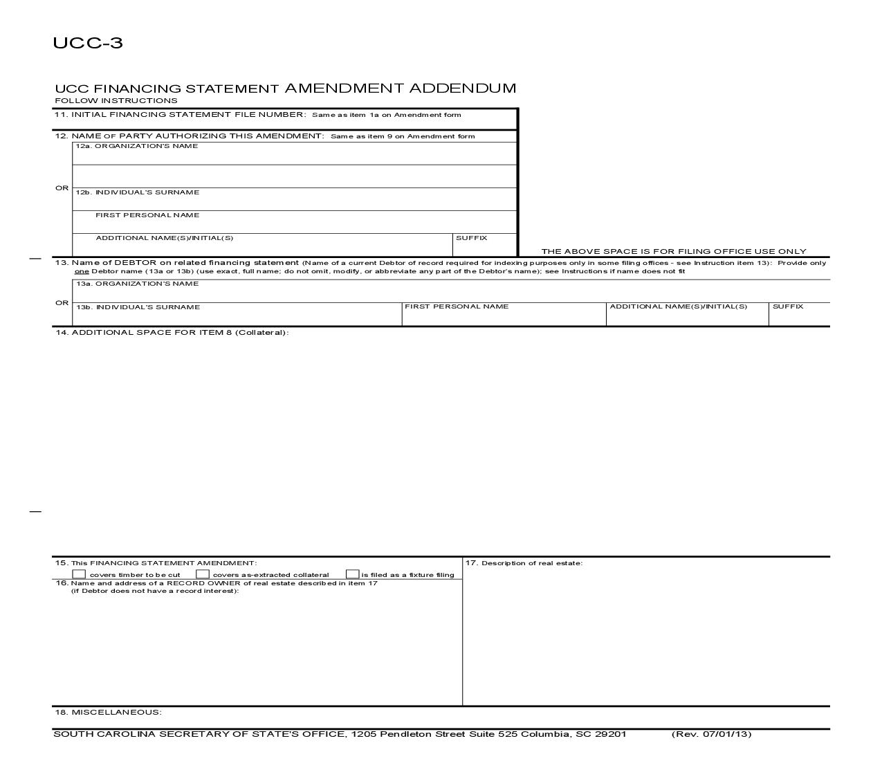 UCC-3ad Financing Statement Amendment Addendum {UCC-3ad} | Pdf Fpdf Doc Docx | South Carolina