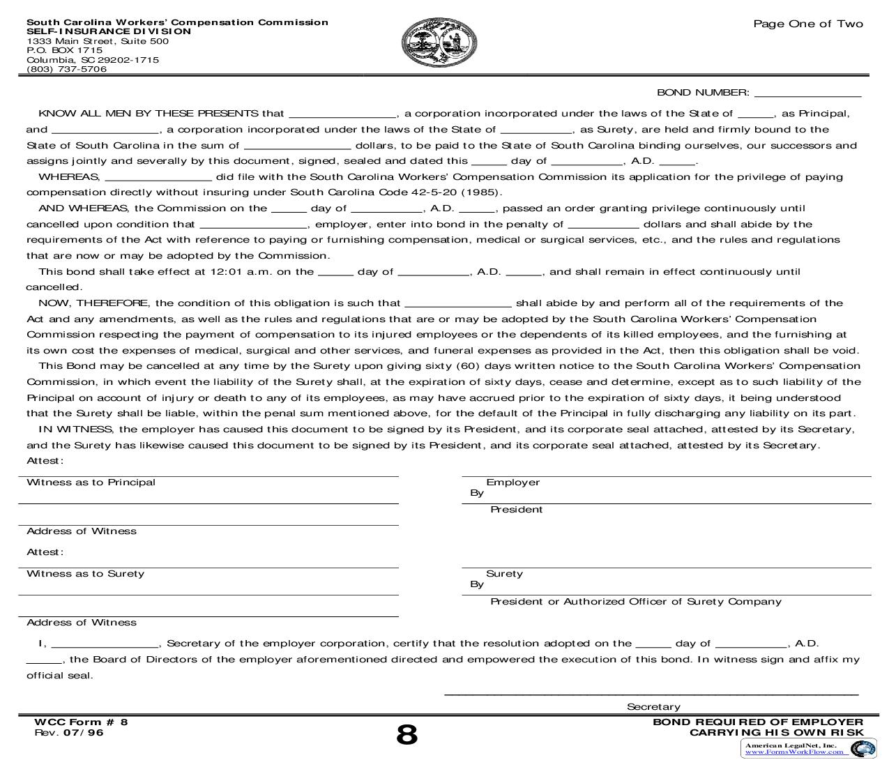 Bond Required Of Employer Carrying His Own Risk {8} | Pdf Fpdf Doc Docx | South Carolina