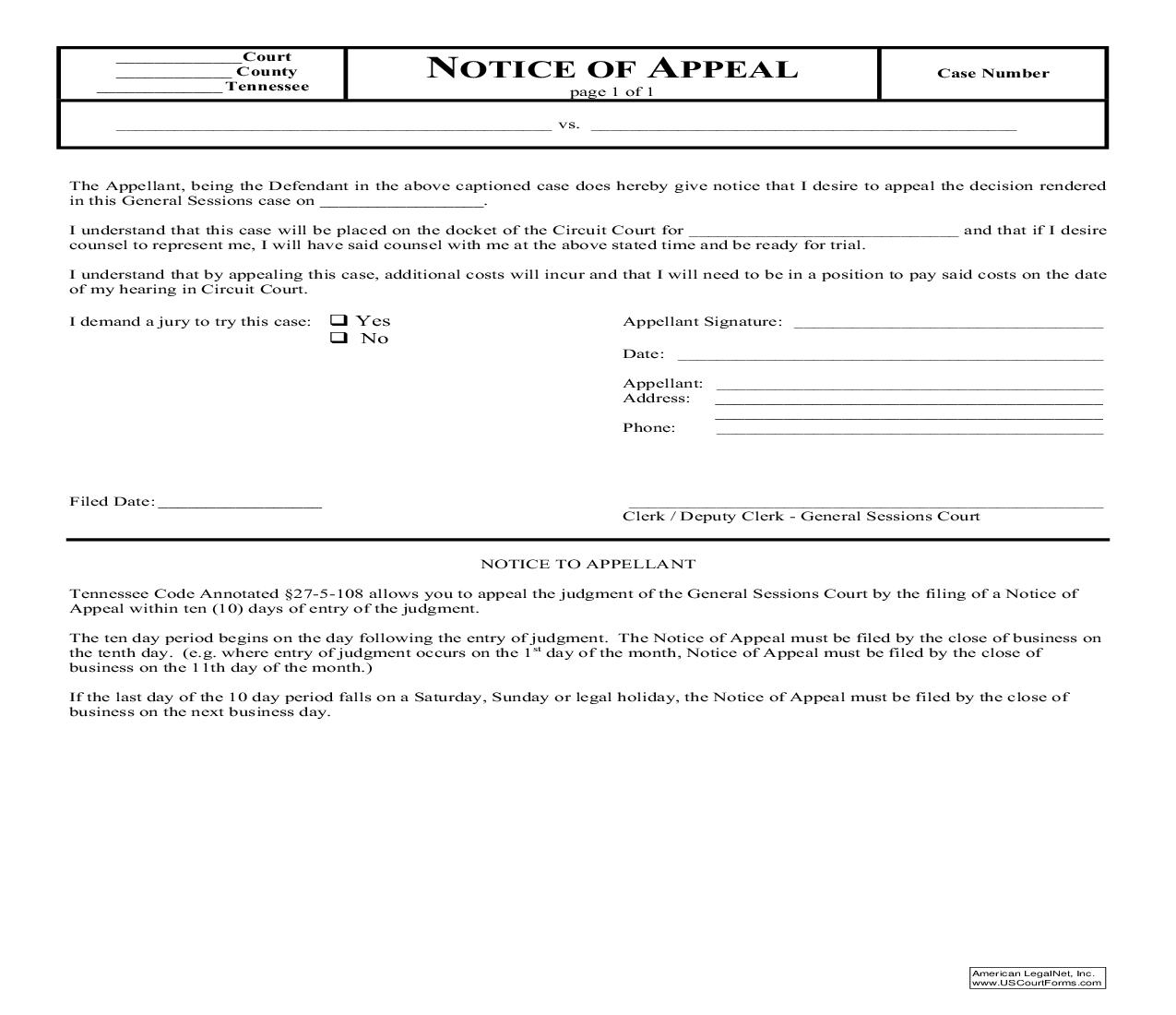 Notice Of Appeal   Pdf Fpdf Doc Docx   Tennessee