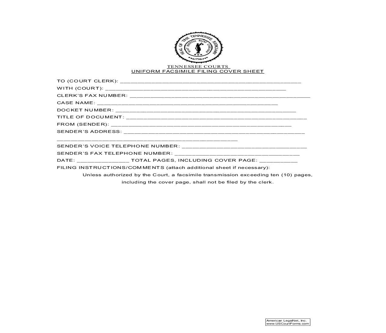 Uniform Fax Filing Cover Sheet | Pdf Fpdf Doc Docx | Tennessee