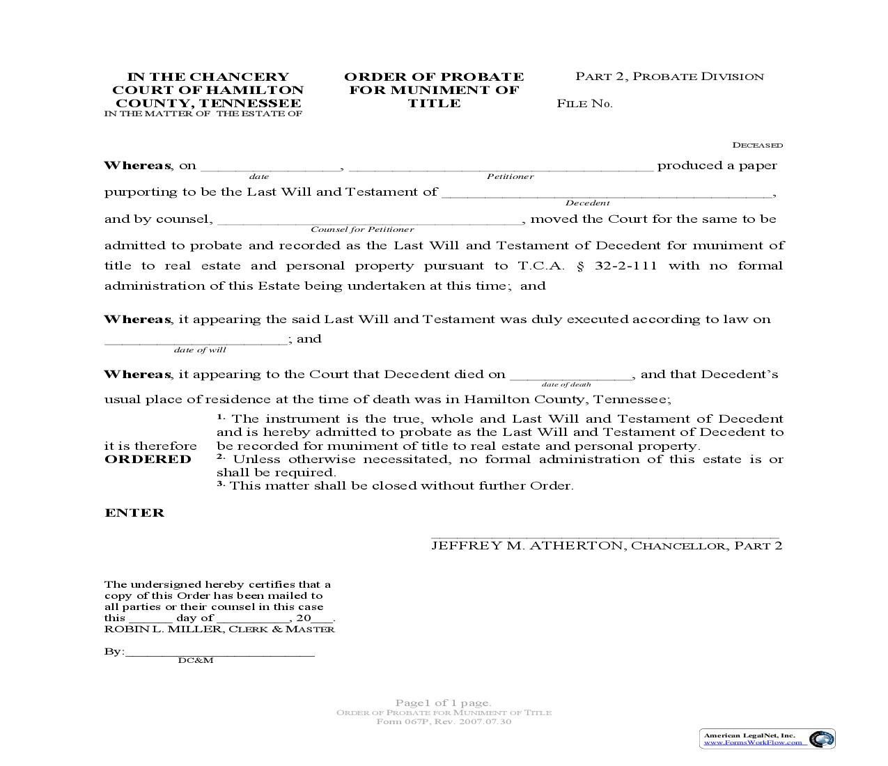 Order Of Probate For Muniment Of Title {067}   Pdf Fpdf Doc Docx   Tennessee