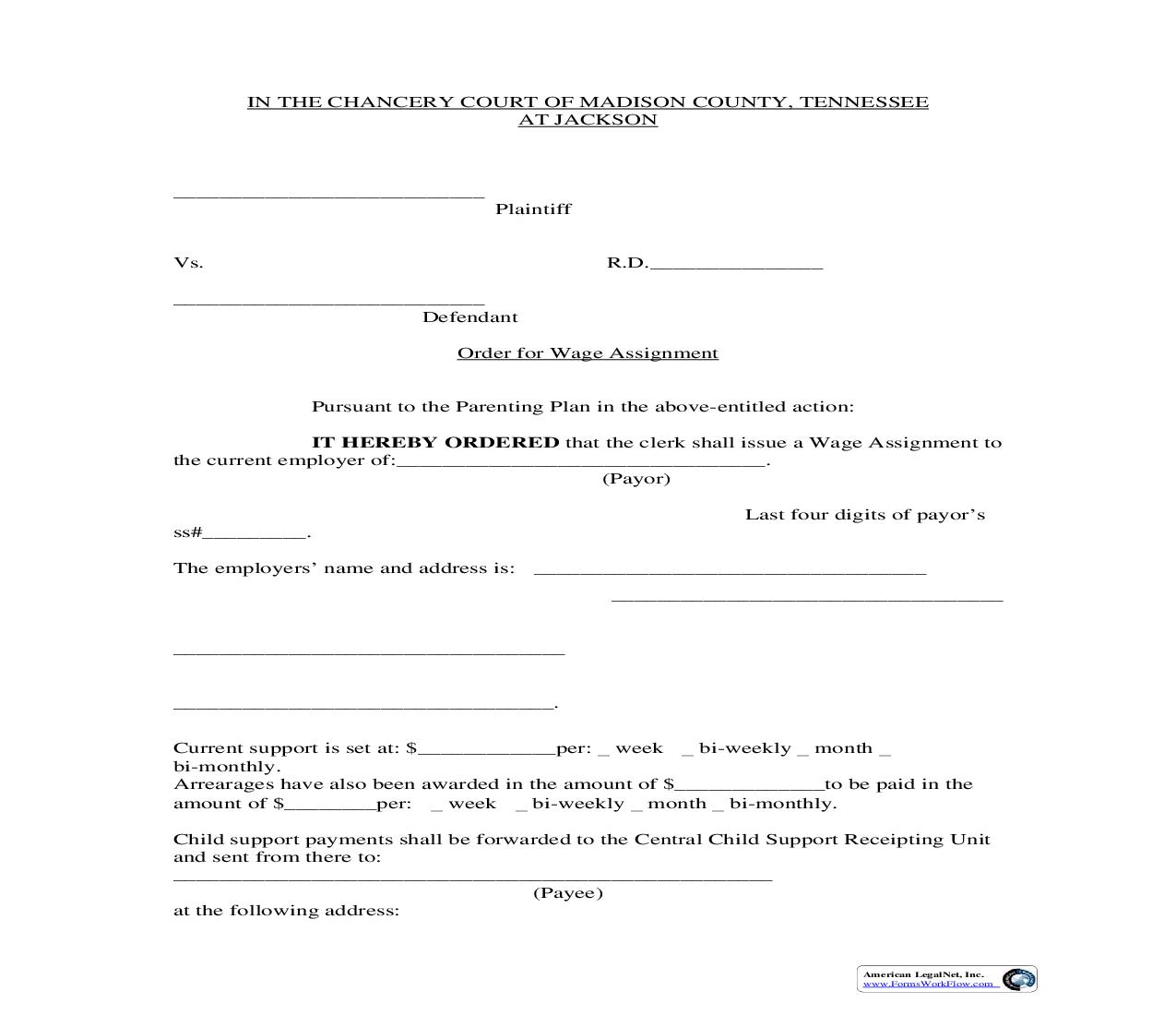 Wage Assignment Order | Pdf Fpdf Doc Docx | Tennessee