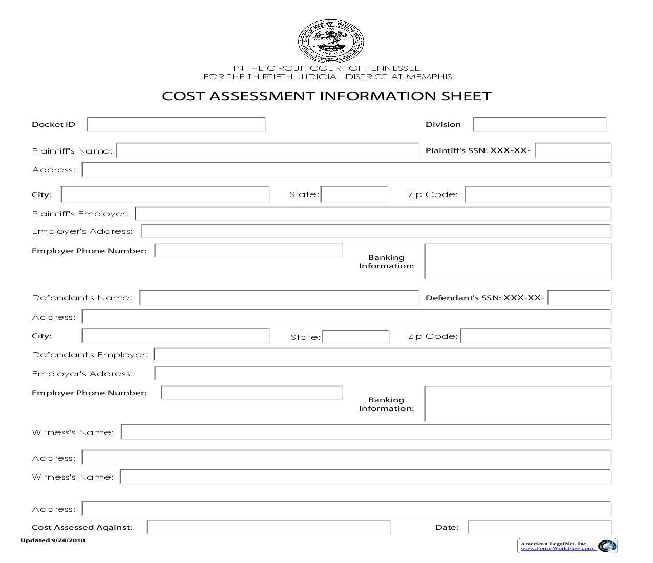 Cost Assessment Information Sheet | Pdf Fpdf Doc Docx | Tennessee