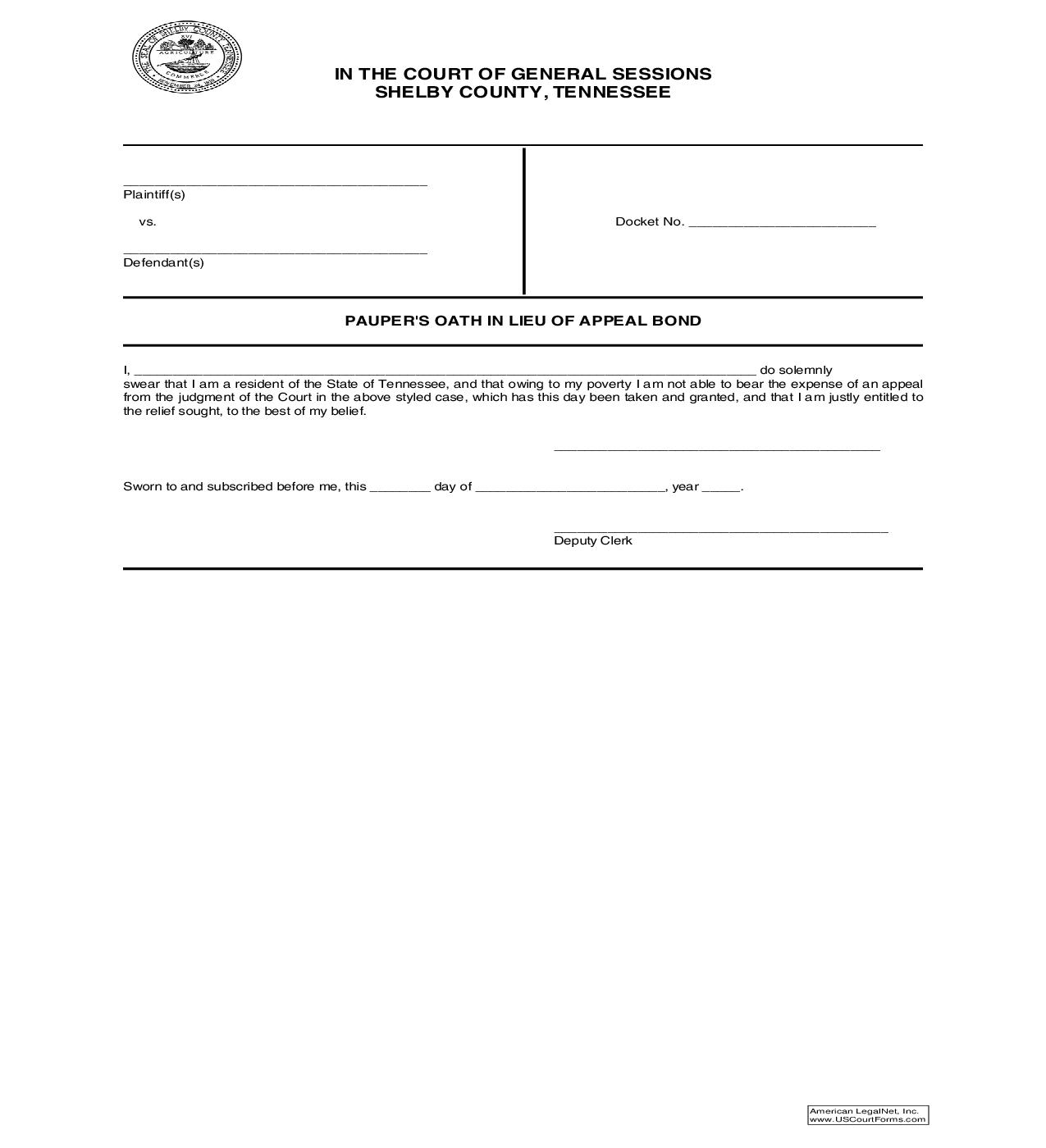 Paupers Oath In Lieu Of Appeal Bond | Pdf Fpdf Doc Docx | Tennessee