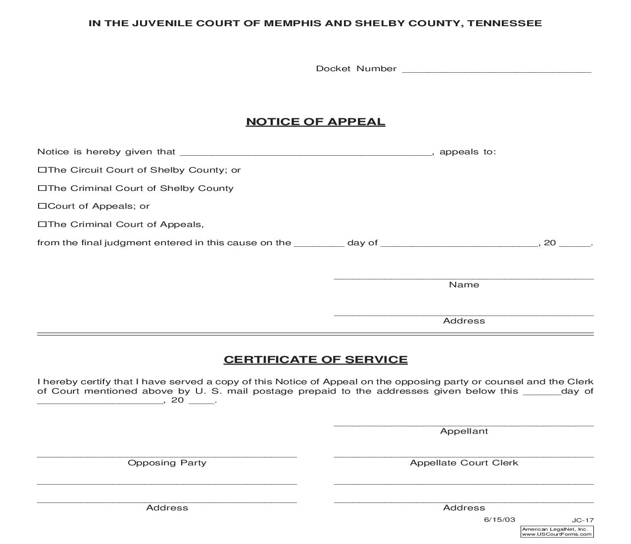 Notice Of Appeal {JC-17} | Pdf Fpdf Doc Docx | Tennessee