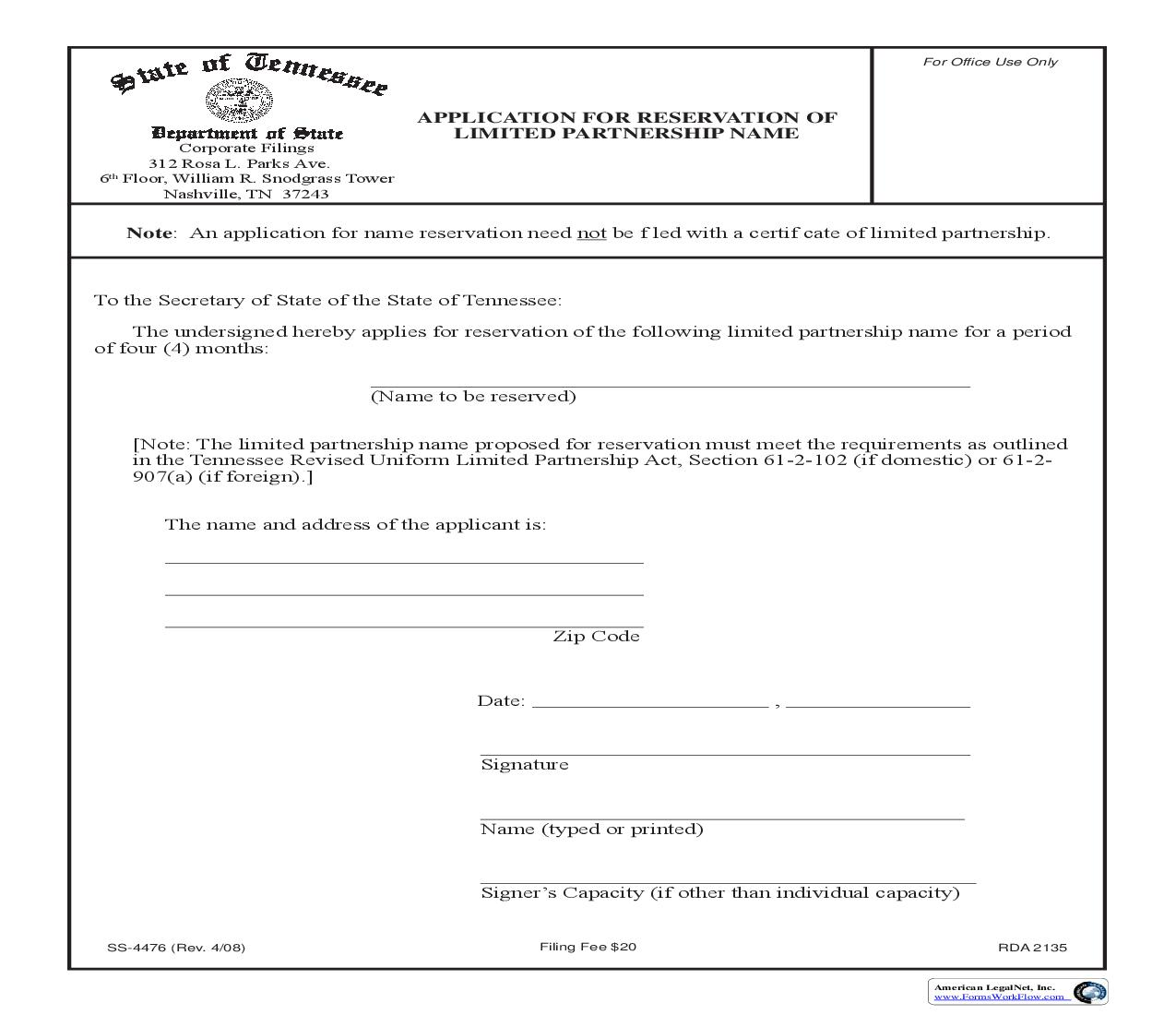 Application For Reservation Of LP Name {SS-4476} | Pdf Fpdf Doc Docx | Tennessee