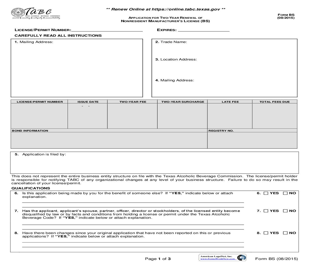 Application For Two Year Renewal Of Nonresident Manufacturers License {BS} | Pdf Fpdf Doc Docx | Texas
