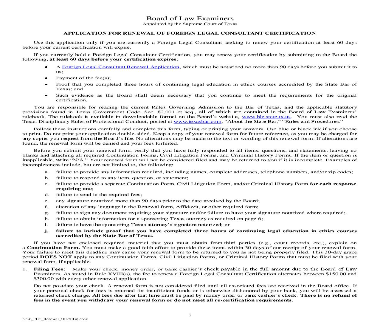 Application For Renewal Of Foreign Legal Consultant Certification | Pdf Fpdf Doc Docx | Texas
