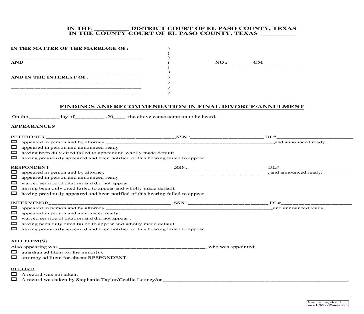 Findings And Recommendation In Final Divorce-Annulment | Pdf Fpdf Doc Docx | Texas