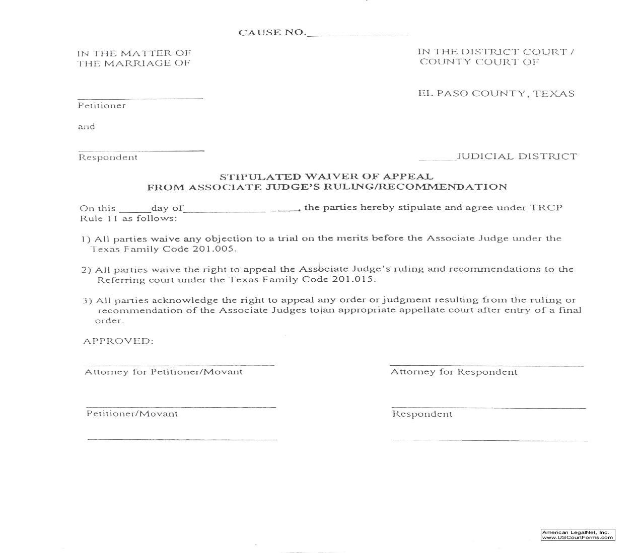 Stipulated Waiver Of Appeal From Associate Judges Ruling-Recommendation | Pdf Fpdf Doc Docx | Texas