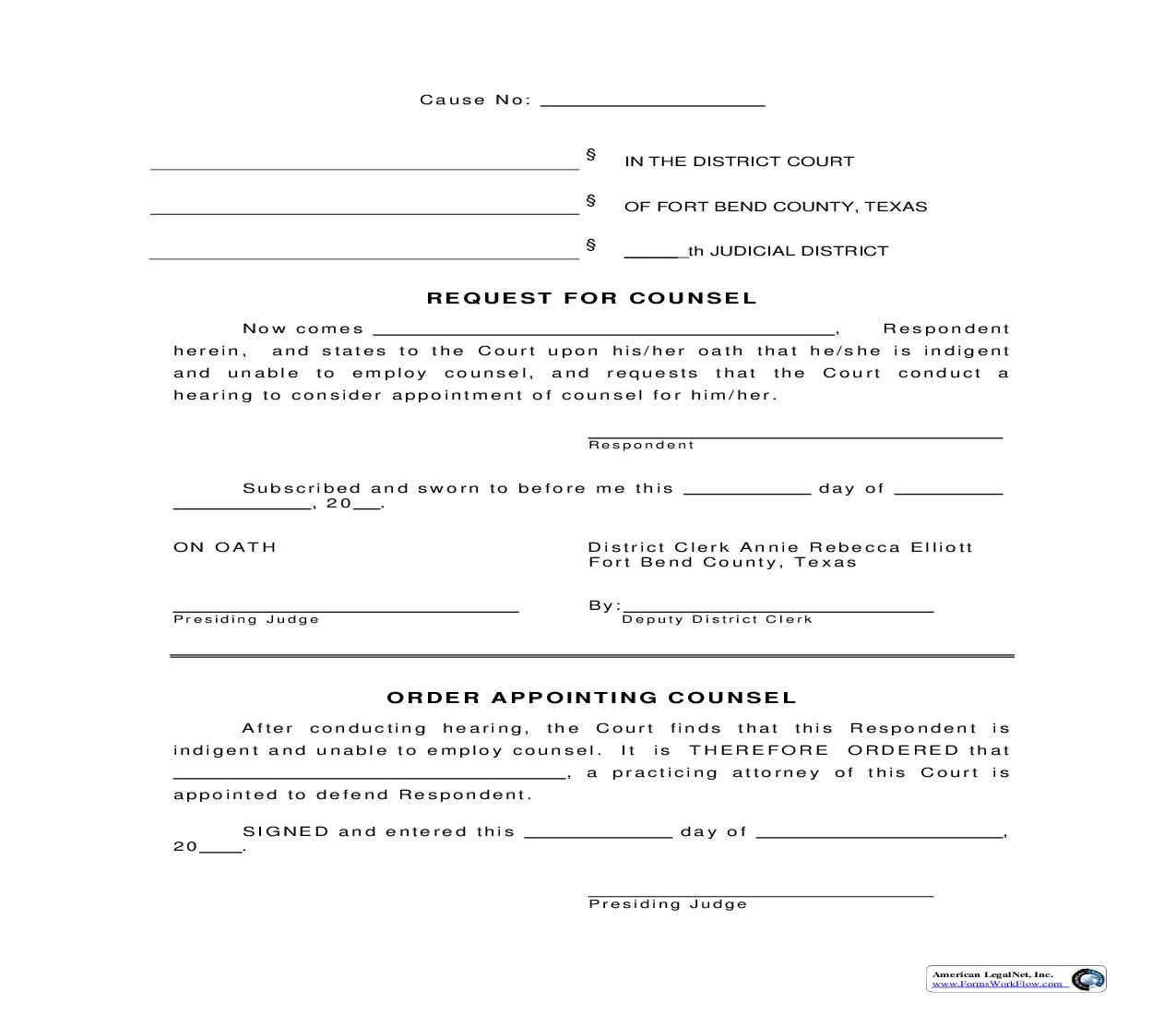 Request For Counsel {151} | Pdf Fpdf Doc Docx | Texas