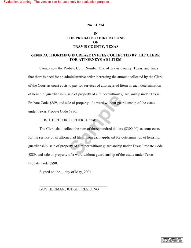 Order Authorizing Increase In Fees Collected By The Clerk For Attorneys Ad Litem | Pdf Fpdf Doc Docx | Texas