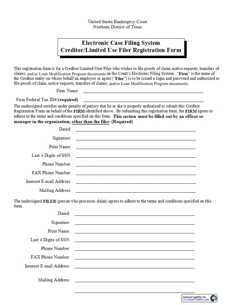 ECF System Creditor-Limited Use Filer Registration Form (With Exercise) | Pdf Fpdf Doc Docx | Texas
