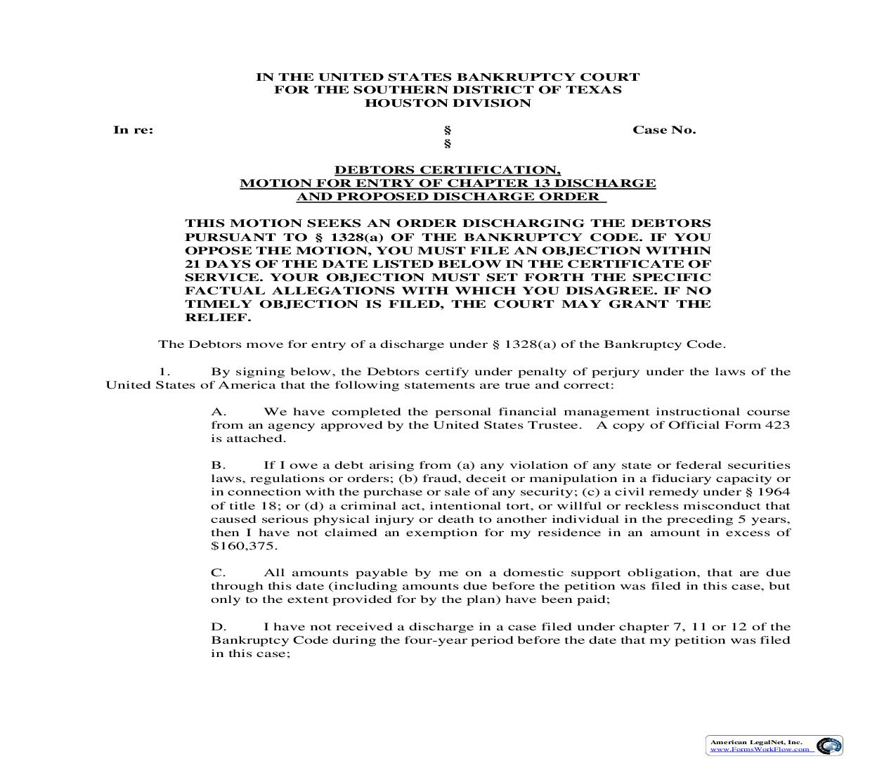 Debtors Certification Motion For Entry Of Chapter 13 Discharge | Pdf Fpdf Doc Docx | Texas