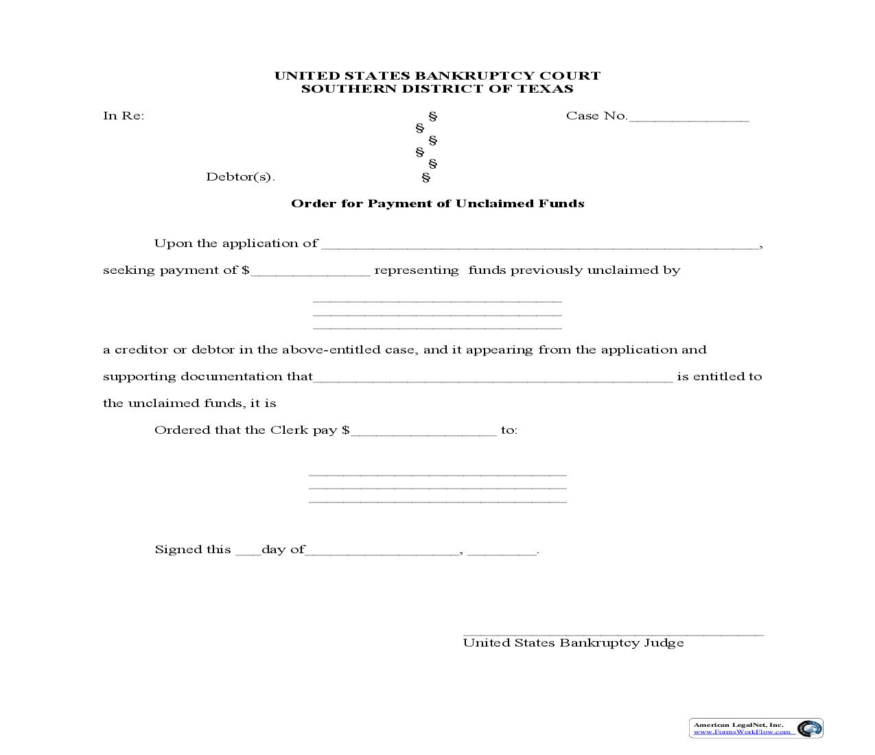 Order For Payment Of Unclaimed Funds | Pdf Fpdf Doc Docx | Texas