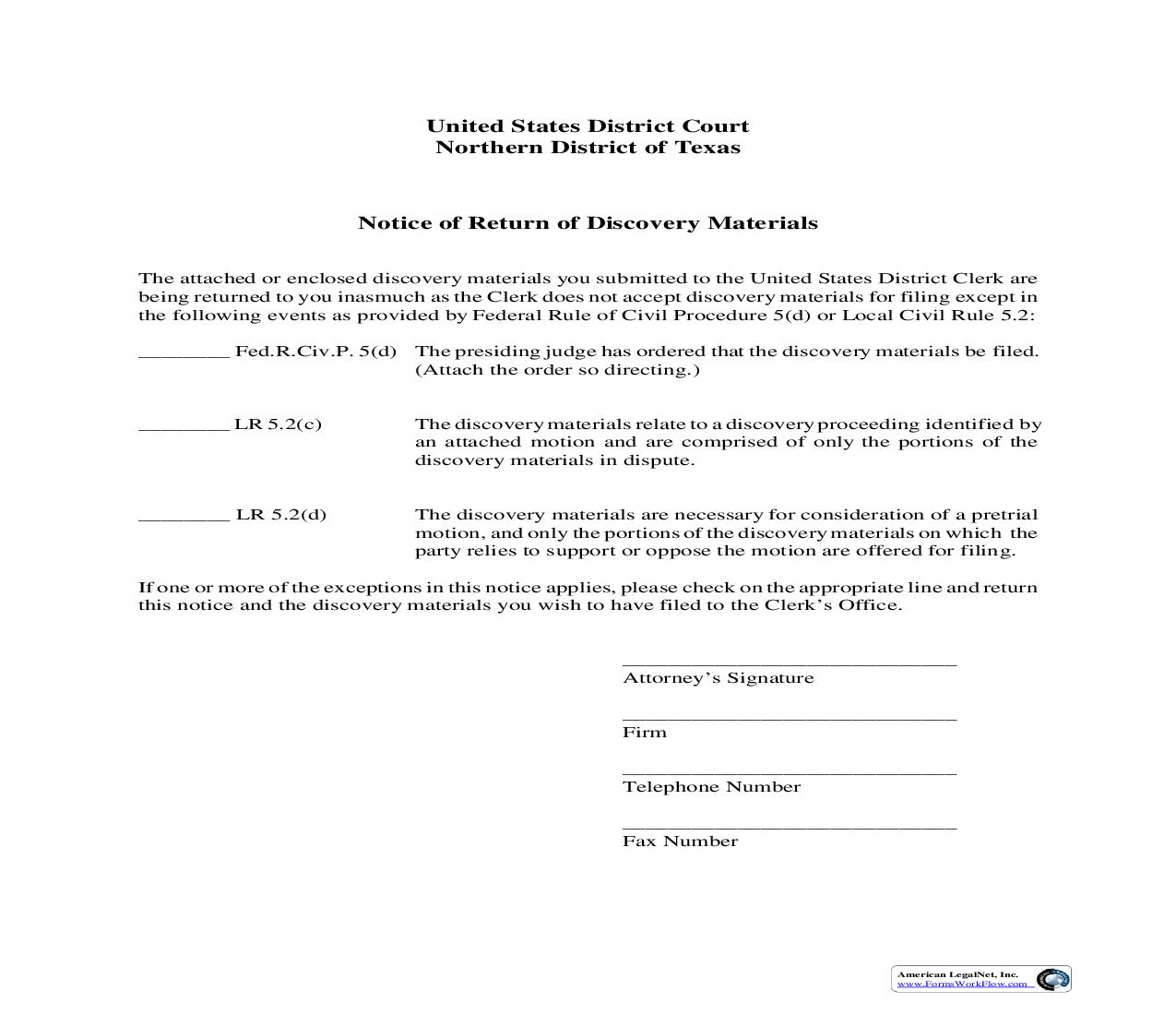 Notice Of Return Of Discovery Materials | Pdf Fpdf Doc Docx | Texas