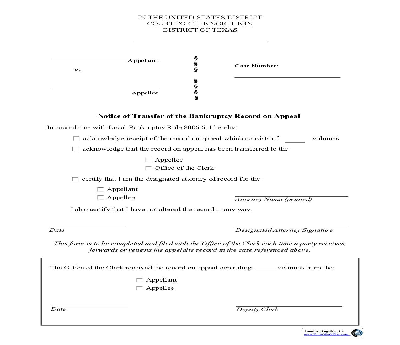 Notice Of Transfer Of The Bankruptcy Record On Appeal | Pdf Fpdf Doc Docx | Texas