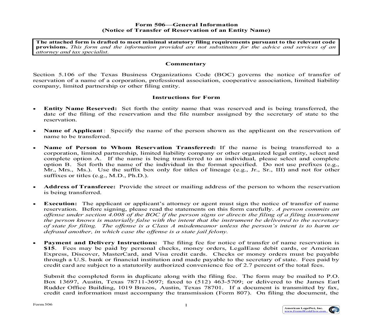 Notice Of Transfer Of Reservation Of An Entity Name {506} | Pdf Fpdf Doc Docx | Texas