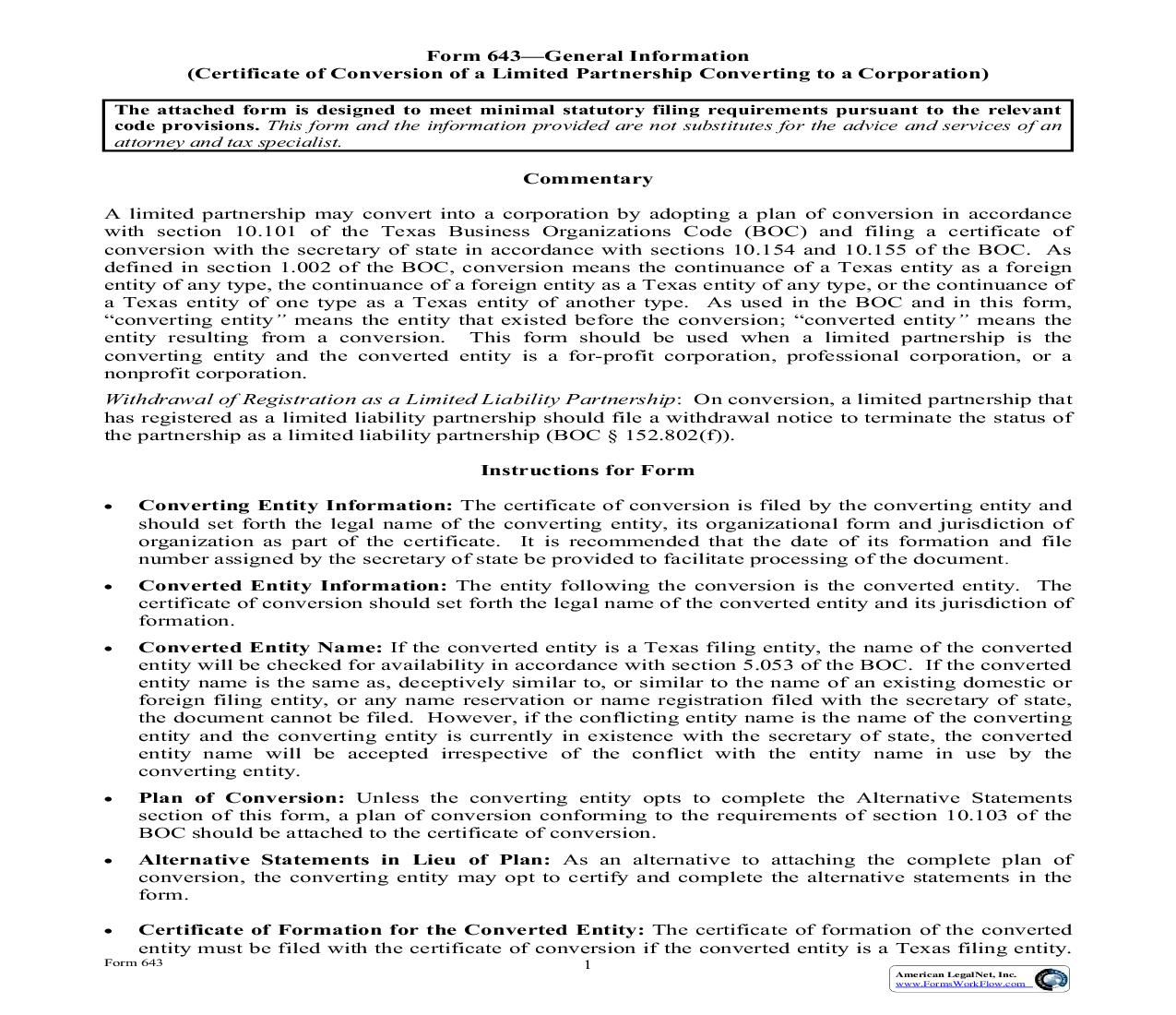 Certificate Of Conversion Of A Limited Partnership Converting To A Corporation {643} | Pdf Fpdf Doc Docx | Texas