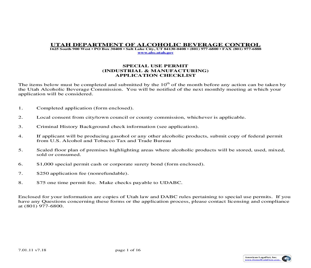 Special Use Permit Industrial And Manufacturing  Application   Pdf Fpdf Doc Docx   Utah