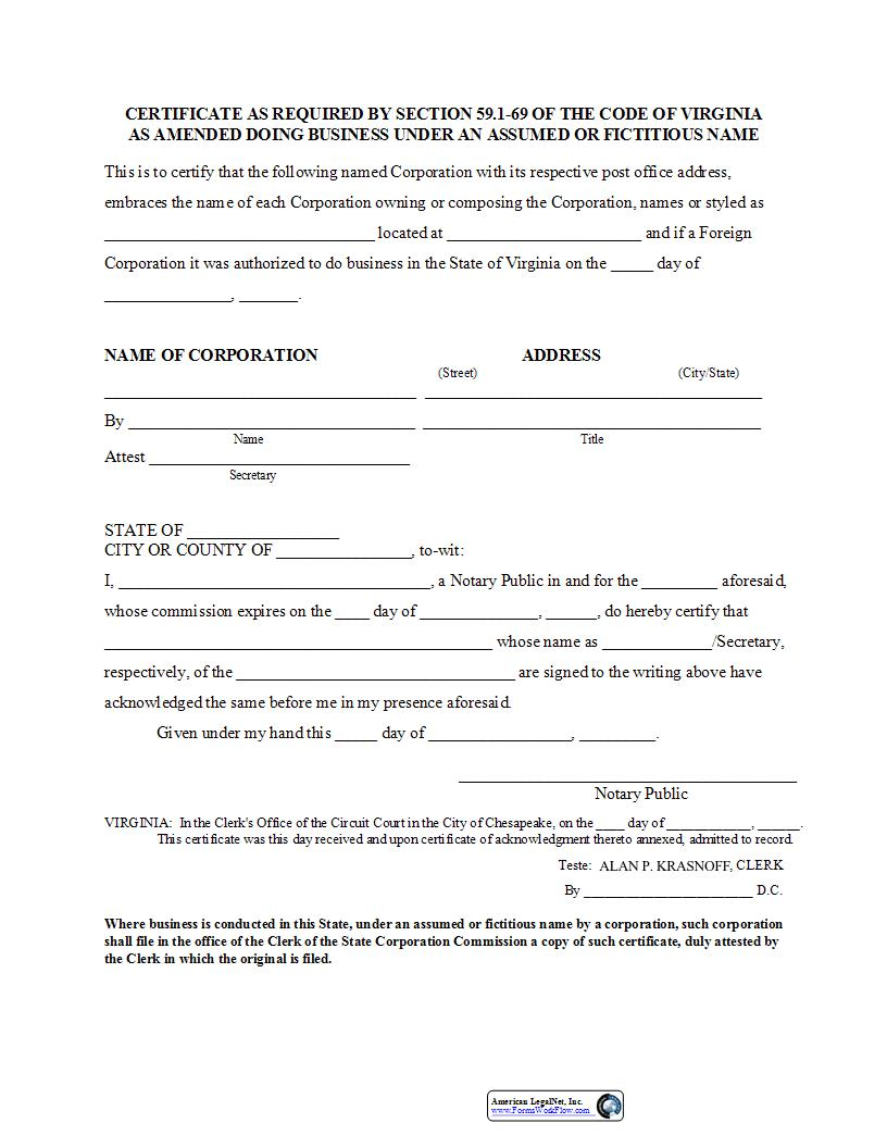 Registration For Assumed Or Fictitious Name By Corporation (Certificate As Required By Sec 59.1-69)   Pdf Fpdf Doc Docx   Virginia