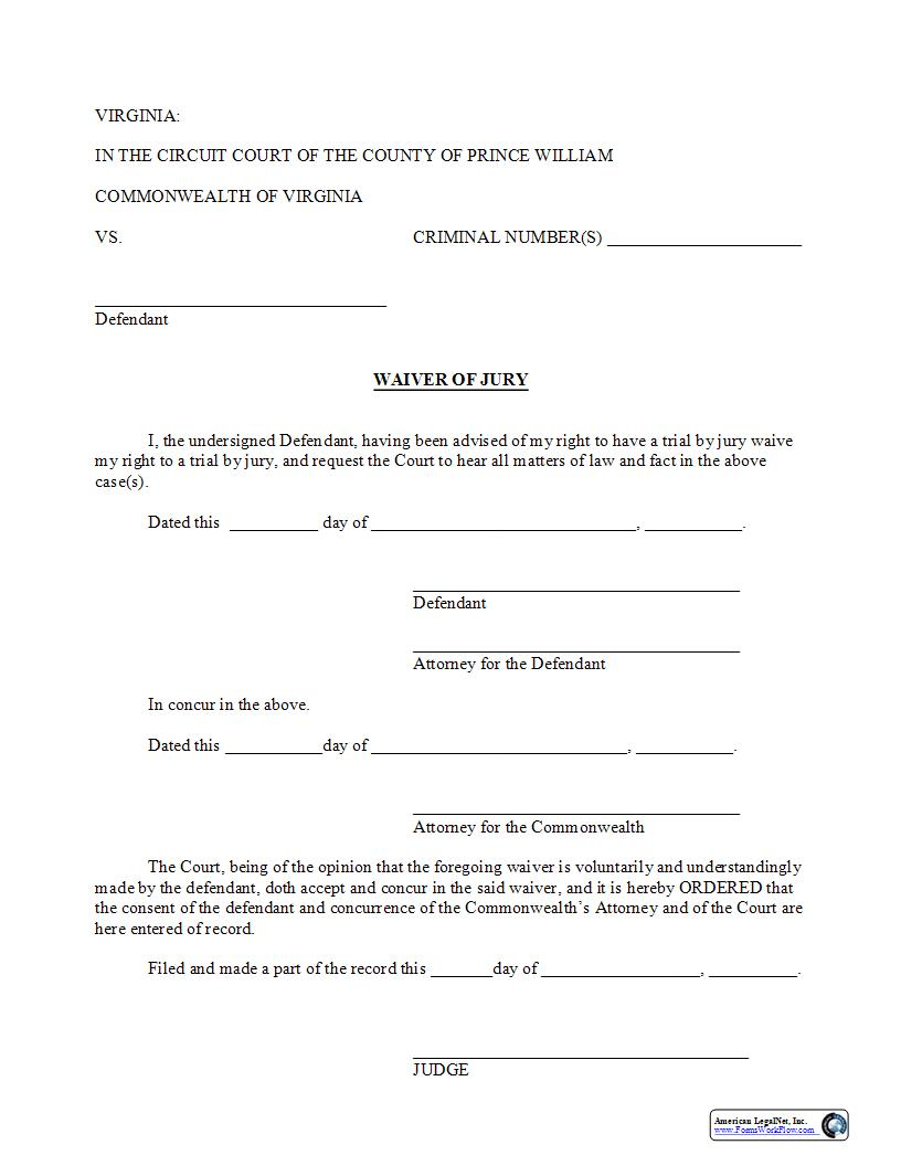Waiver Of Jury | Pdf Fpdf Doc Docx | Virginia