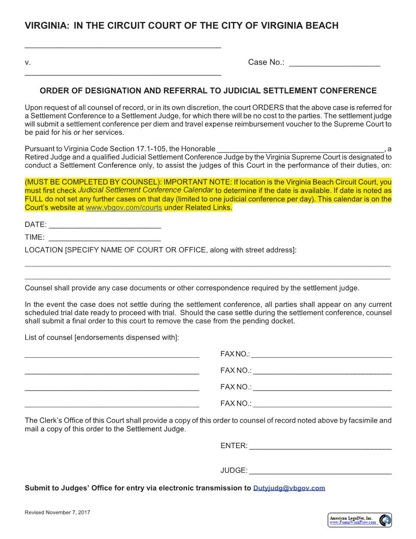 Order Of Designation And Referral To Judicial Settlement Conference | Pdf Fpdf Doc Docx | Virginia
