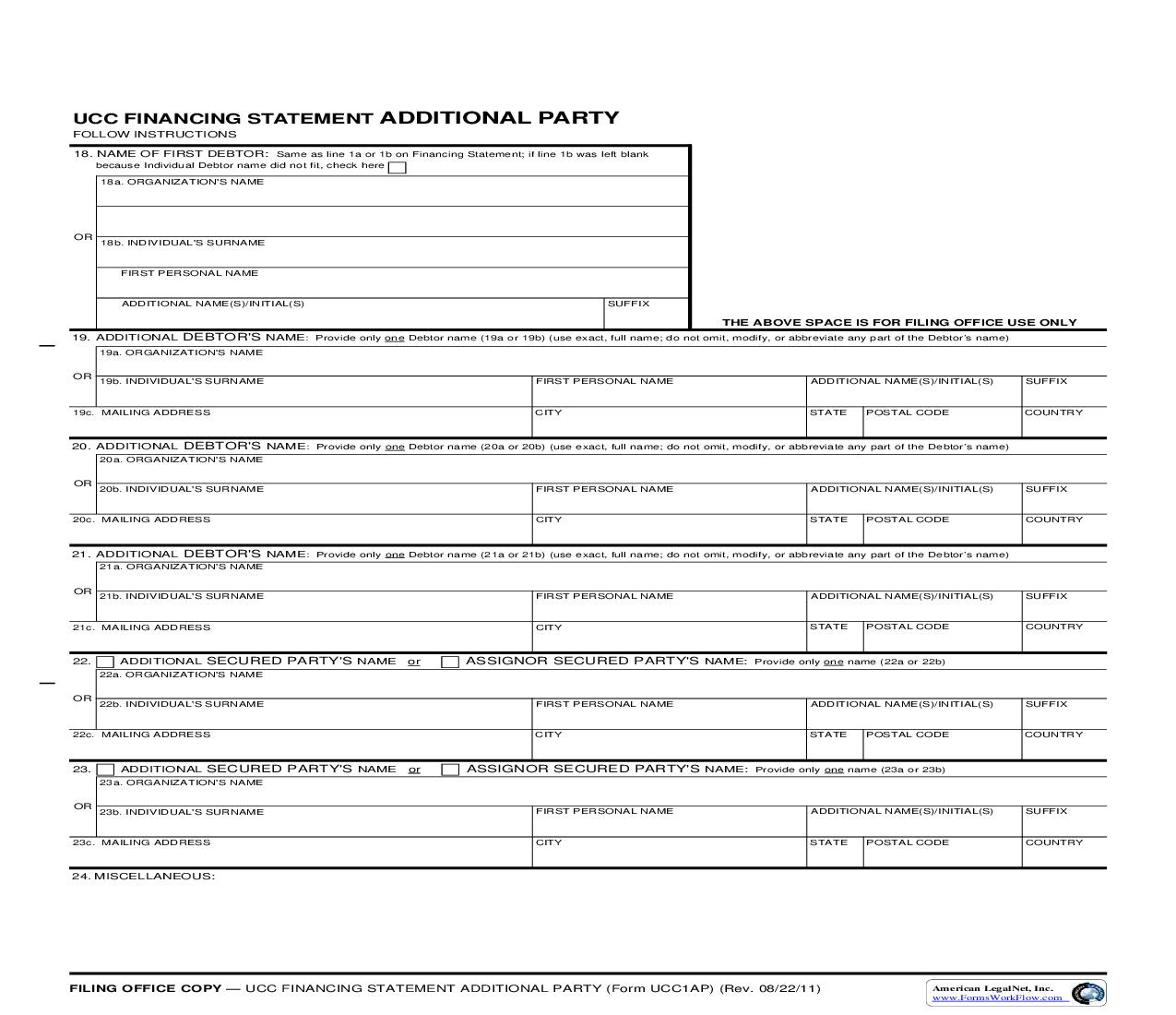 UCC1AP Financing Statement Additional Party {UCC1AP} | Pdf Fpdf Doc Docx | Virginia
