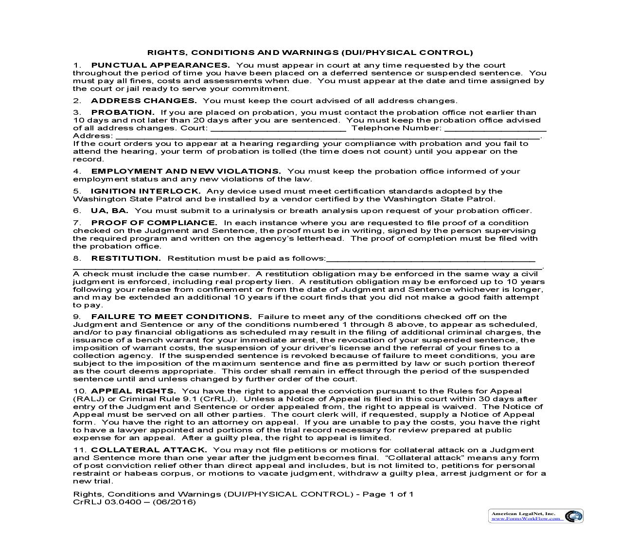 Rights Conditions And Warnings (DUI-Physical Control) {CrRLJ 03.0400} | Pdf Fpdf Doc Docx | Washington