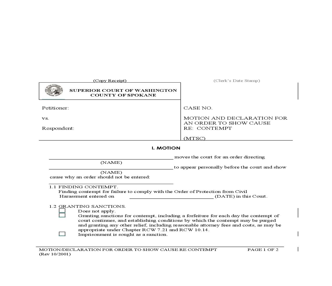 Motion And Declaration For Order To Show Cause Re Contempt   Pdf Fpdf Doc Docx   Washington