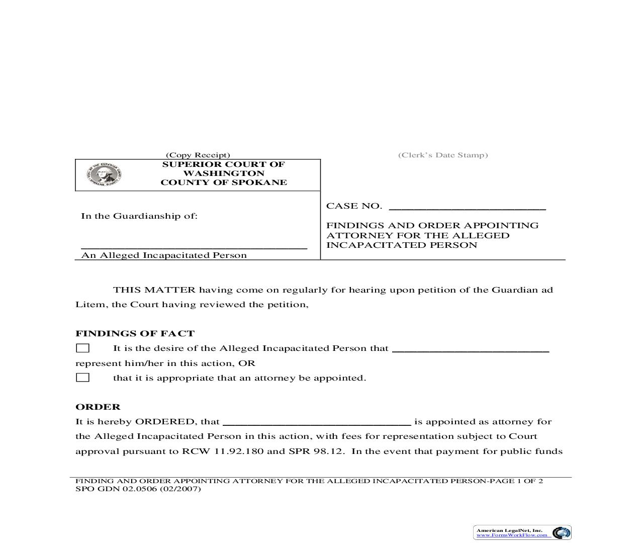 Findings And Order Appointing Attorney For Alleged Incapacitated Person {05B} | Pdf Fpdf Doc Docx | Washington