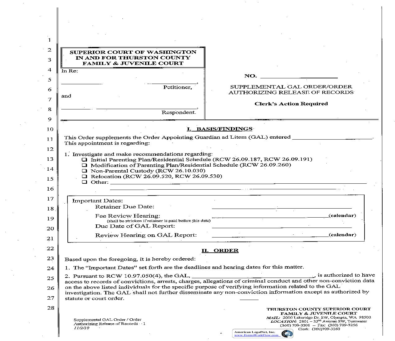 Supplemental GAL Order-Order Authorizing Release Of Records | Pdf Fpdf Doc Docx | Washington