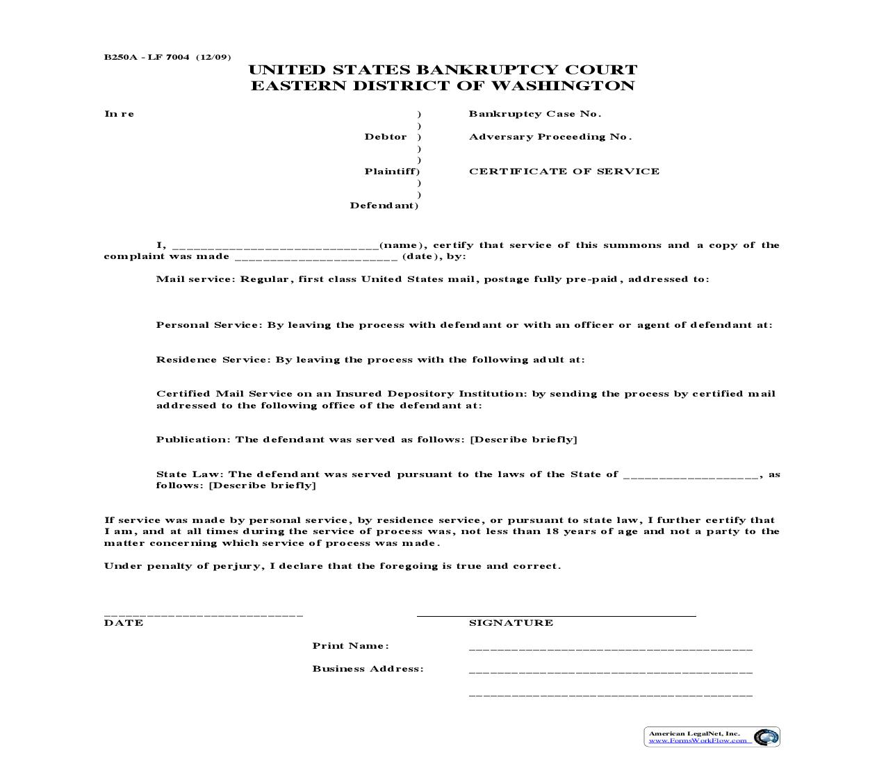 Certificate Of Service Of Summons {LF7004} | Pdf Fpdf Doc Docx | Washington