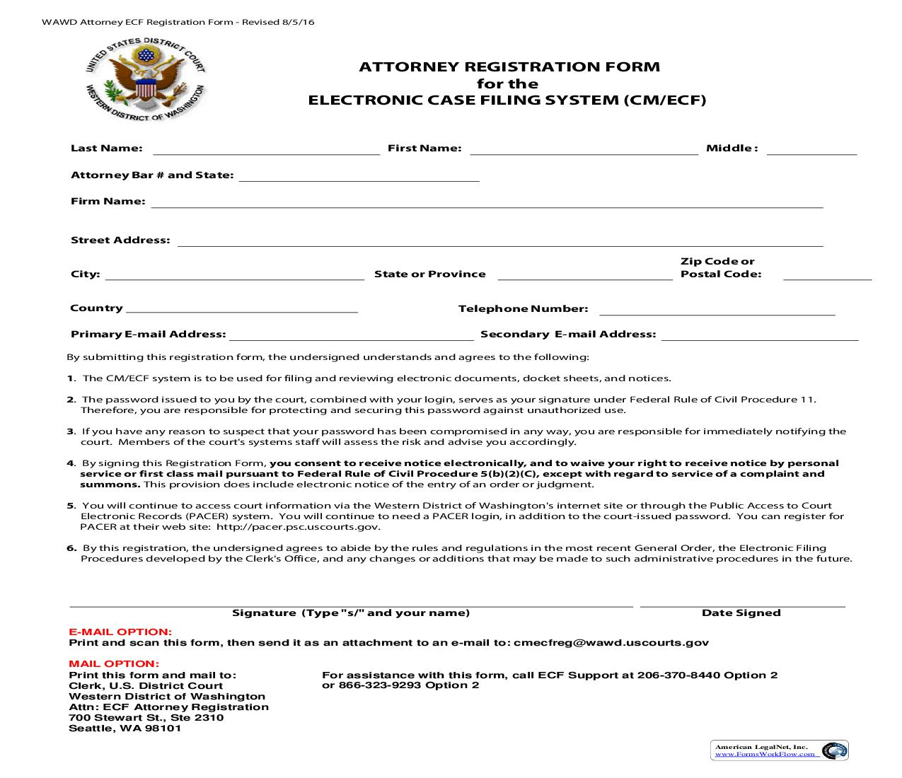 Registration Form For The Electronic Case Filing System | Pdf Fpdf Doc Docx | Washington