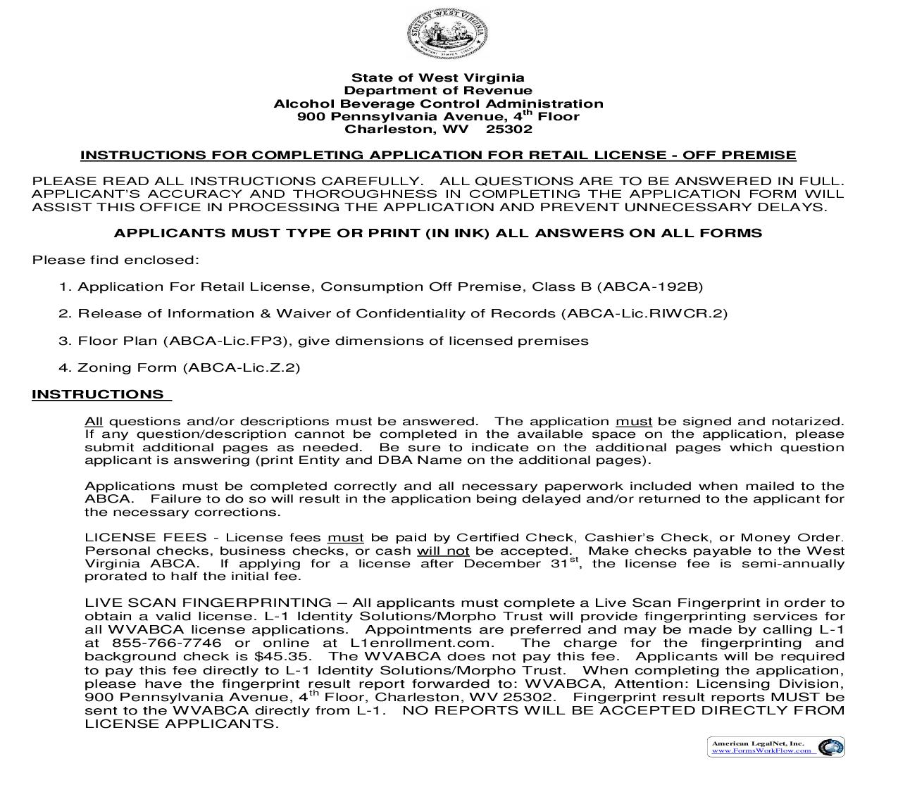 Application For Retail License Off Premise | Pdf Fpdf Doc Docx | West Virginia