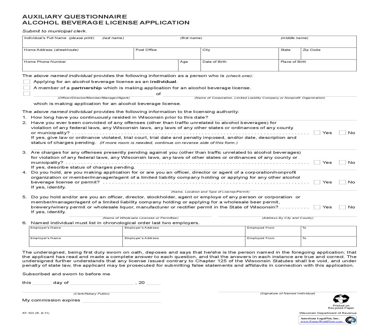Auxiliary Questionnaire Alcohol Beverage License Application {AT-103} | Pdf Fpdf Doc Docx | Wisconsin