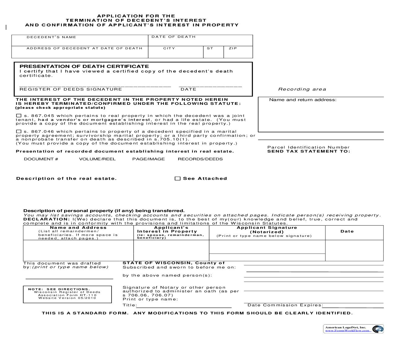Application For The Termination Of Decedents Interest And Confirmation Of Applicants Interest In Property {HT-110} | Pdf Fpdf Doc Docx | Wisconsin