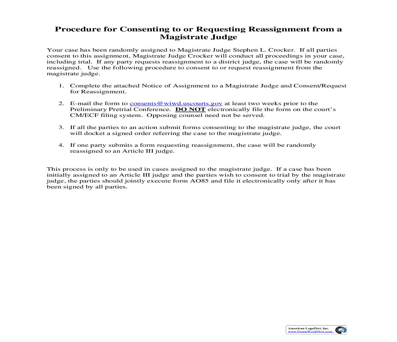 Notice Of Assignment To A Magistrate Judge And Consent Or Request For Reassignment | Pdf Fpdf Doc Docx | Wisconsin
