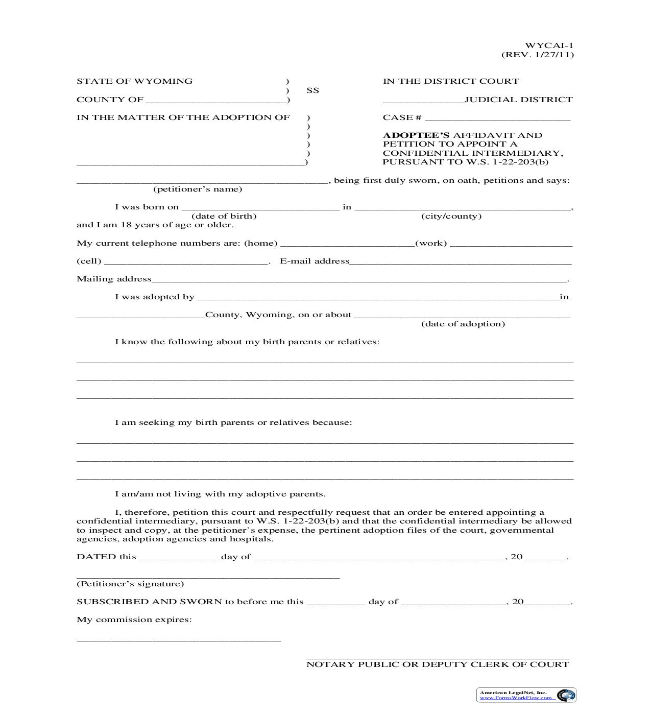 Adoptees Affidavit And Petition To Appoint A Confidential Intermediary {WYCAI-1}   Pdf Fpdf Doc Docx   Wyoming